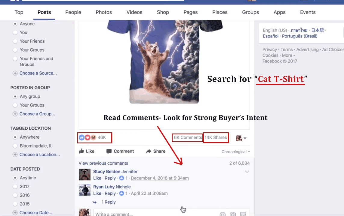 Product Research on Facebook for Winning Products to sell on Shopify